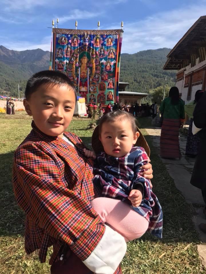 chlidren attending Jambay Lhakhang Festival