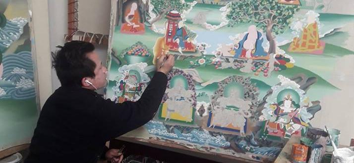 pema doing Thangka painting