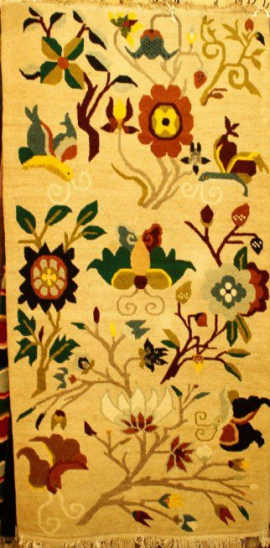 Tibetan carpet with flower and butterfly design