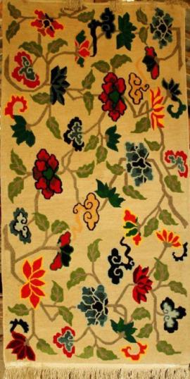 Tibetan carpet with floral design