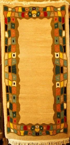 Tibetan carpet with a double border