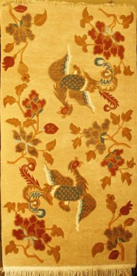 Tibetan carpet with 2 Phoenix and Flower