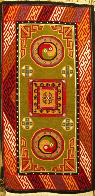 Tibetan carpet with mandala design