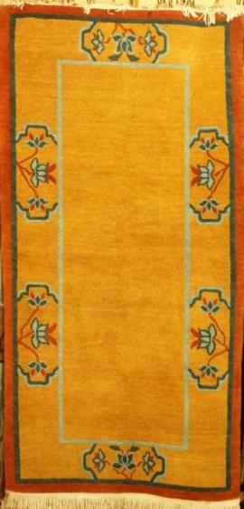 Tibetan carpet with Lotus Border