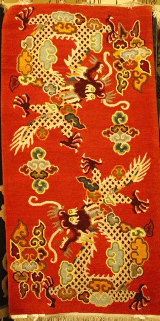 Tibetan carpet with flying dragon design