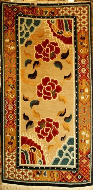 Tibetan carpet with 3 rose and border
