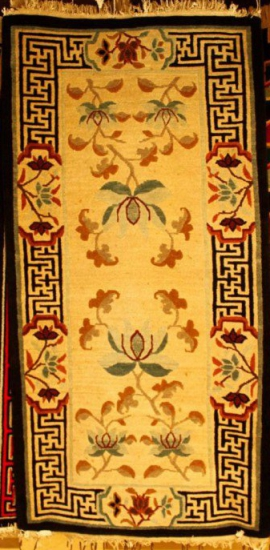 Tibetan carpet with lotus and border