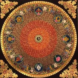 Auspicious symbol Mandala with Mantra