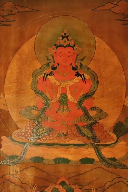 Amitayasu Buddha antique Thangka