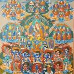 Nyingma Tree Lineage Thangka with Guru Rinpoche and Yeshe Tsogyal