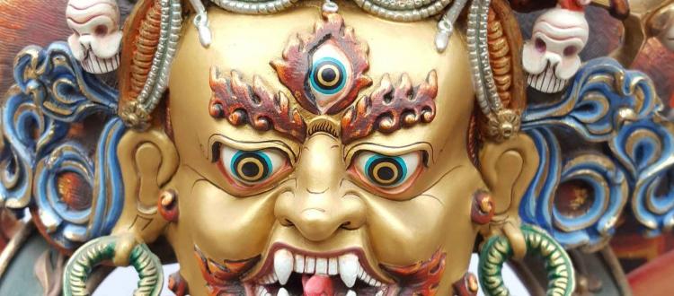 Black Mahakala Statue Real Gold and Thangka Color