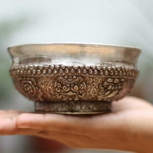 Silver offering Bowl with 8 Auspicious Symbol