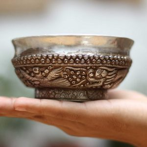 Silver offering bowl with Dragon Carving