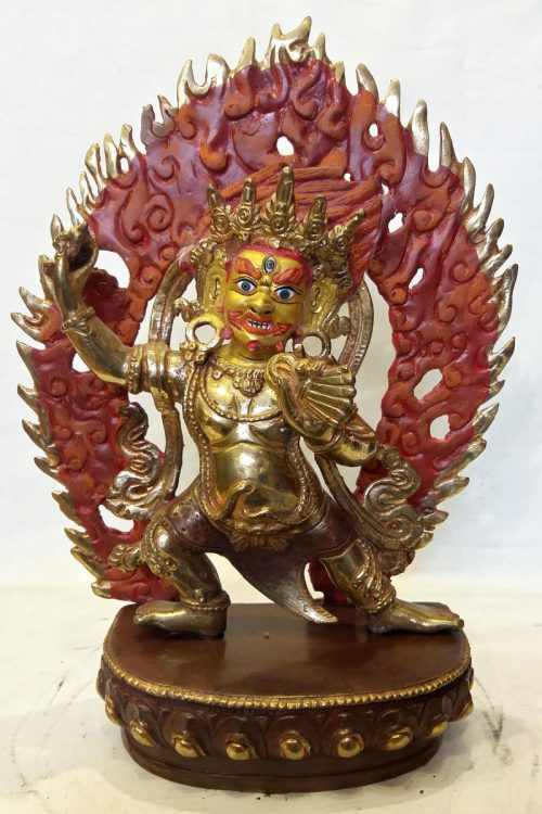 Vajrapani Statue Partly Gold Plated