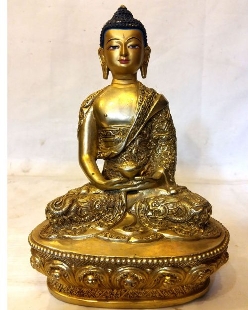 Amitava Buddha Statue-Full Fire Gold Plated with Deep Carving