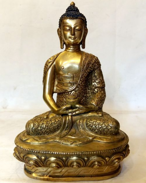 Amitabha Buddha Statue- Full Fire Gold Plated with Carvings
