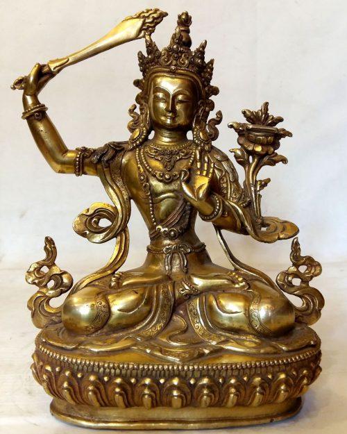 Manjushree Statue - Full Fire Gold Plated