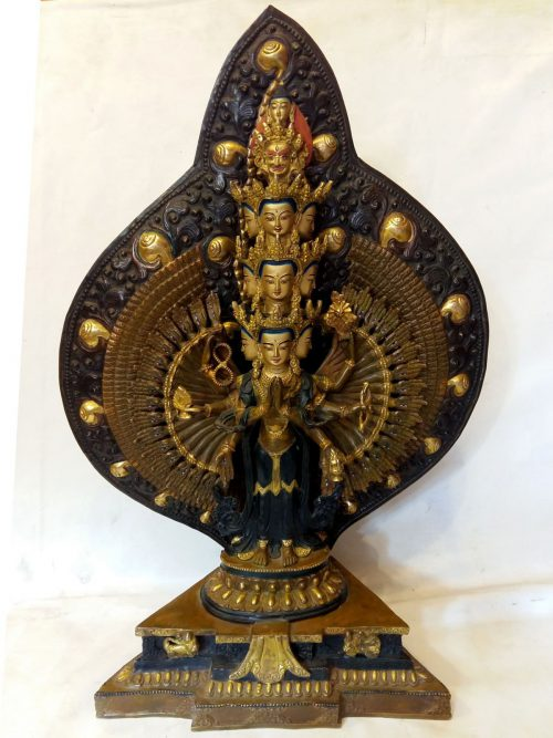 1000 Arm Lokeshvara Statue- Parlty Fire Gold Plated
