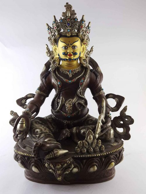 Yellow Jambala Statue Copper Silver Painted Gold Plated Face Dark