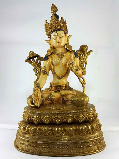 White Tara Handmade Statue Thangka Color finishing