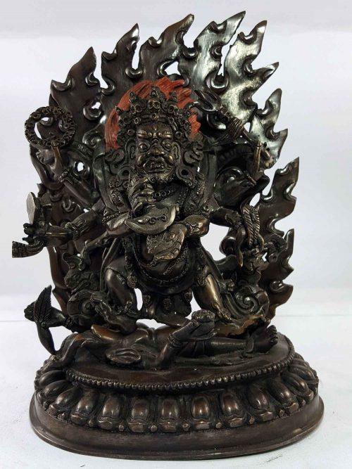 Six Arms Mahakala Statue of Copper