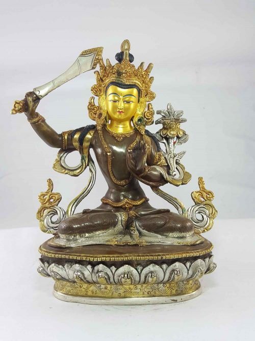 Manjushree Statue Copper and  Painted Face