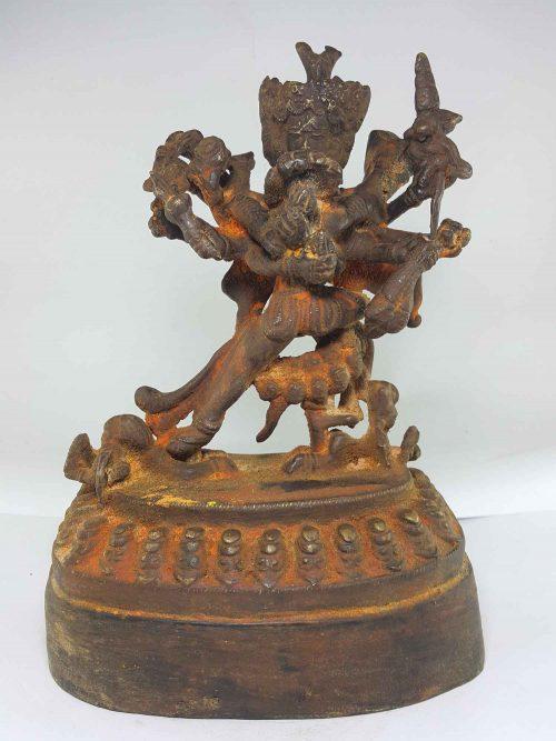 Brass Chakrasamvara Statue with Wooden Base