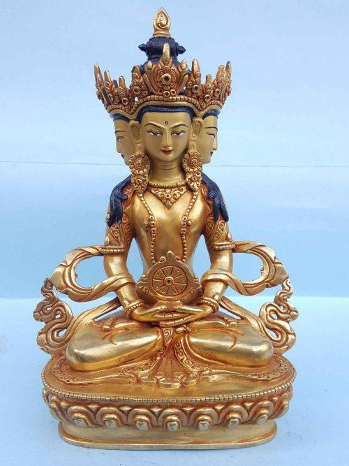 Three Faced God Handmade Statue
