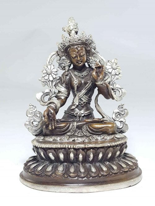Statue of Green Tara with Double Lotus Base