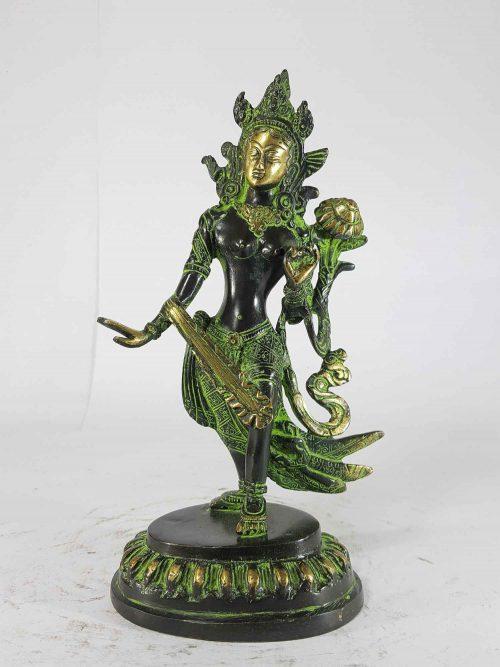 Dancing White Tara Statue Sand Casting Green Antique small