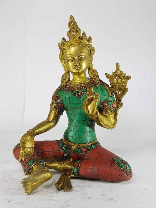 Arya Green Tara Statue Sand Casting Stone Setting