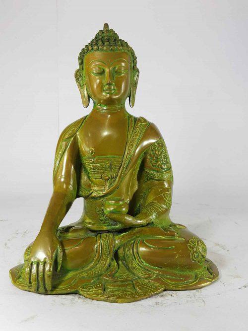Shakyamuni Buddha Statue Sand Casting Green Antique without Base