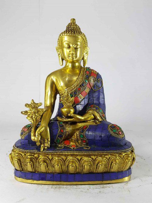Medicine Buddha Statue Sand Casting Stone Setting