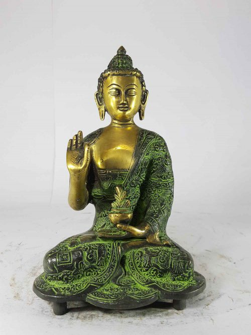 Amoghasiddhi Buddha Statue Sand Casting Green Antique without Base