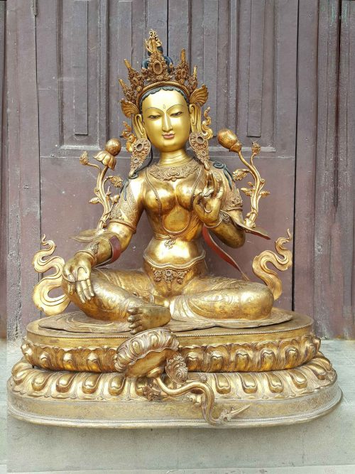 Green Tara Statue with Painted Face