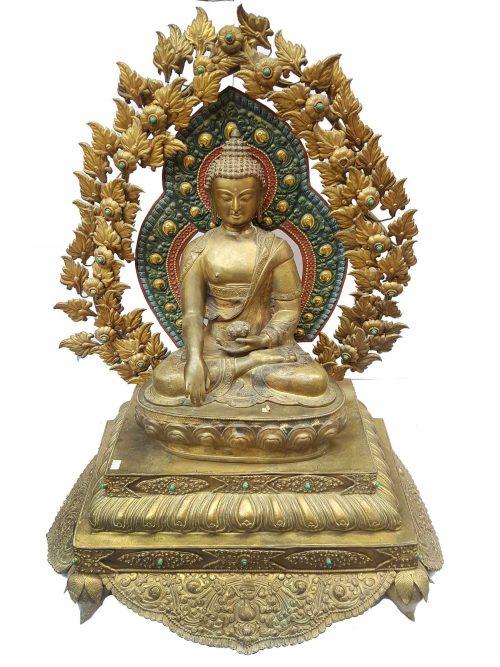 Shakyamuni Buddha Statue Thron Electro Gold Plated Buddha Waiting Patina finishing