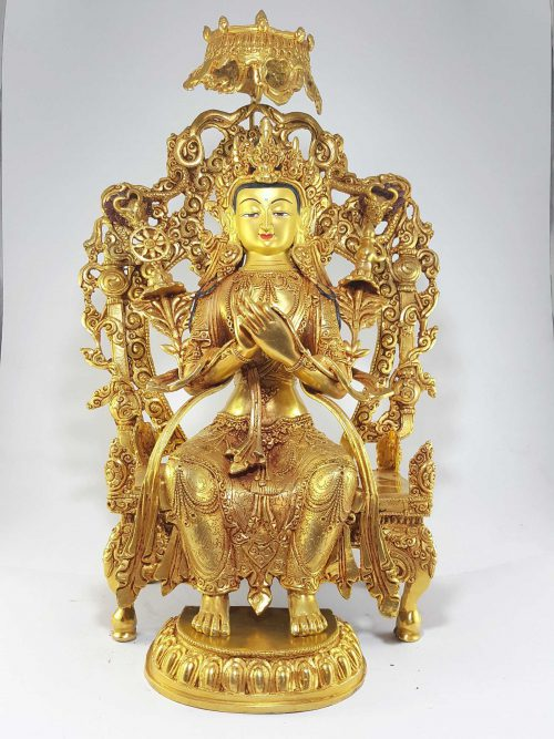 Statue of Maiterya Buddha Gold Painted Face Deep Hand Carving