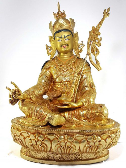 Statue of Padmasambhava Gold Painted Face Deep Hand Carving