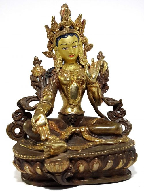 Statue of Green Tara Painted Face