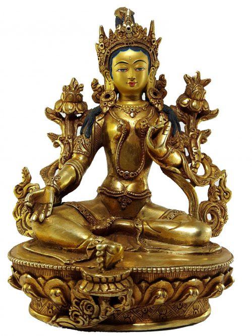 Green Tara Statue Painted Face