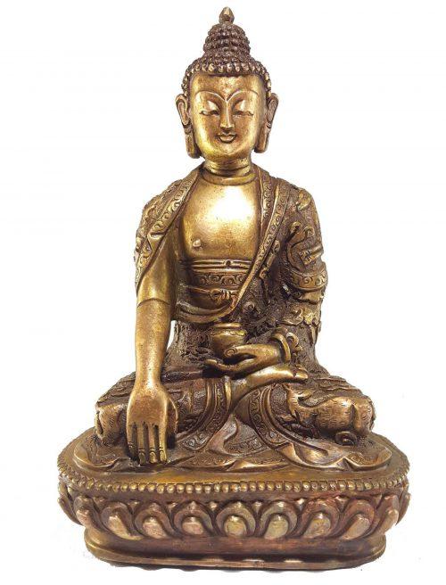 Shakyamuni Buddha Statue with Deep Carving and Bronze finishing