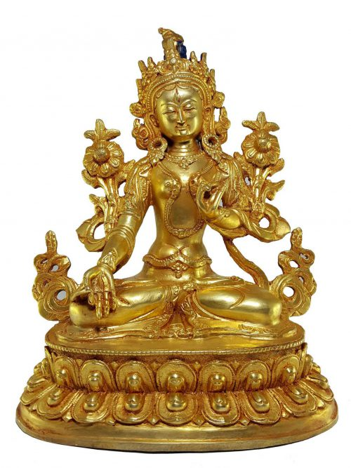 Statue of White Tara Gold Palted