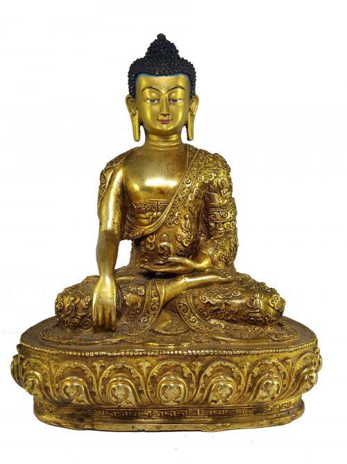 Statue of Shakyamuni Buddha with Buddha Life Story Hand Carving