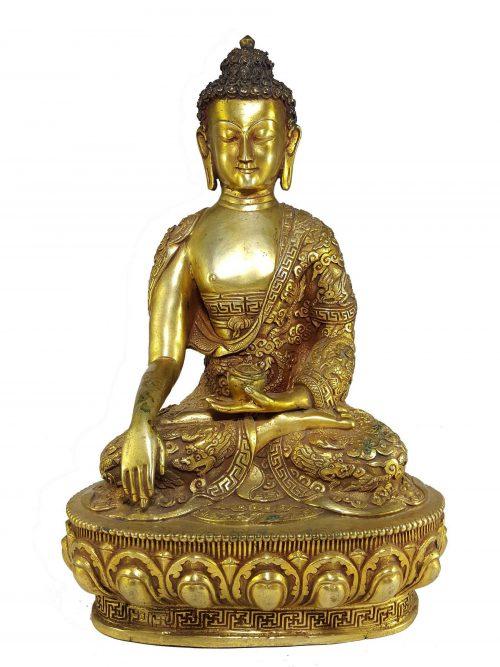 Statue of Shakyamuni Buddha with Buddha Life Story Hand Carving Face