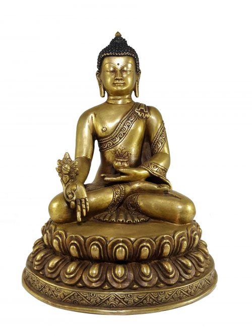 Statue of Medicine Buddha with Double Lotus Base