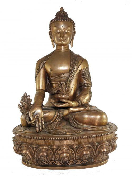 Deep Carved Statue of Medicine Buddha