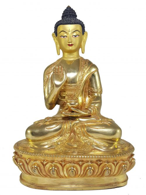 Statue of Amoghassiddhi Buddha with Painted Face