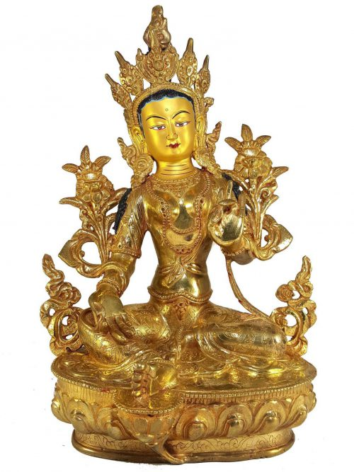 Statue of Green Tara and Painted Face