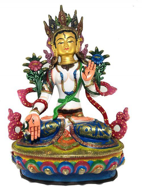 Statue of White Tara Thangka Color finishing