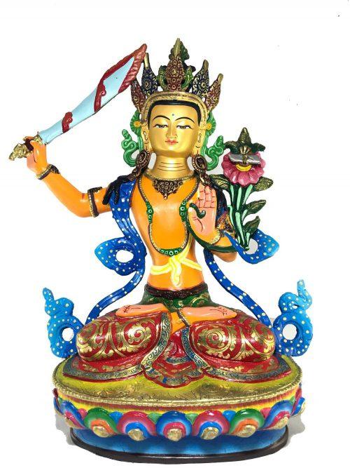 Statue of Manjushree Thangka Color finishing